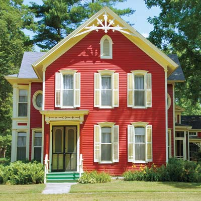 Red painted house exterior