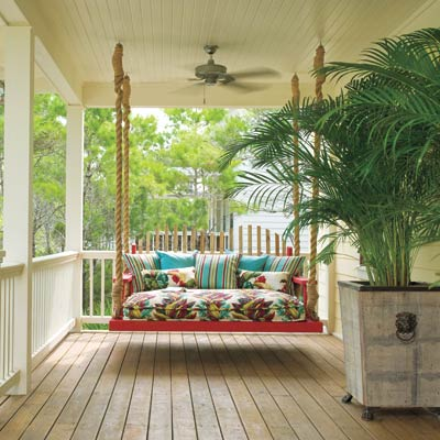 rope-hung daybed on porch for easy upgrade