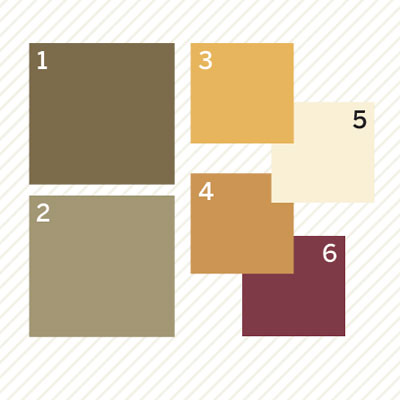 earth tones palette of paint colors to create a vintage look