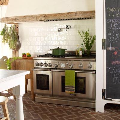 remodeled farmhouse kitchen with stove range
