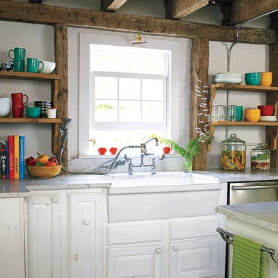 remodeled farmhouse kitchen with sink