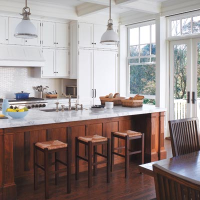 queen anne kitchen with walnut island