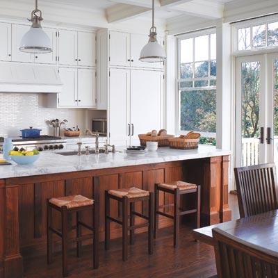 queen anne kitchen with walnut island