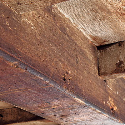 Close up of interior ceiling beams in the Bedford Homestead