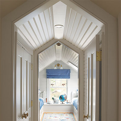 tongue-and-groove panels  in this refinished attic