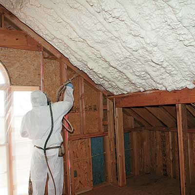 spray-foam roof insulation applied to this refinished attic