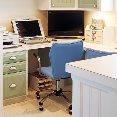 home office laundry room with custom desk