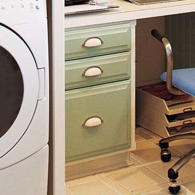 home office laundry room with file cabinet