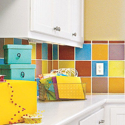 hobby space laundry room with bright wall tiles