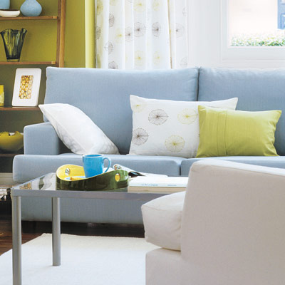 living room with clean lined sofa
