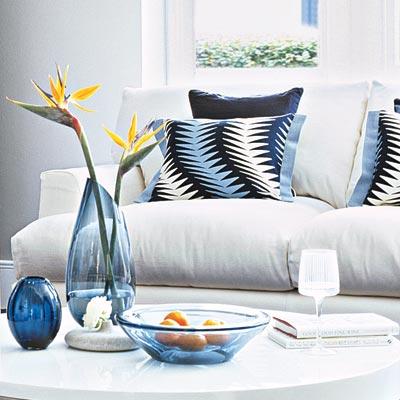 deep and dramatic living room with cushy sofa