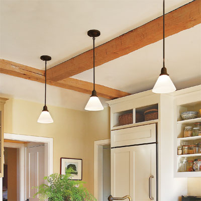 pendant lights in a kitchen