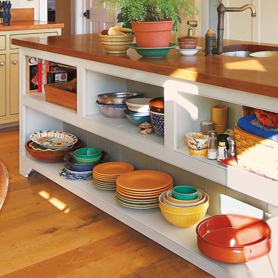 open shelves in a kitchen island