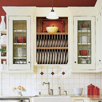 open kitchen cabinets with plate racks