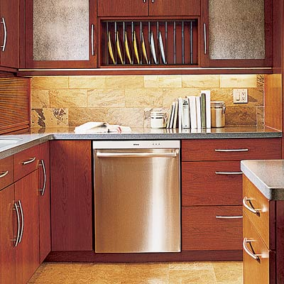 a customized slate kitchen backsplash