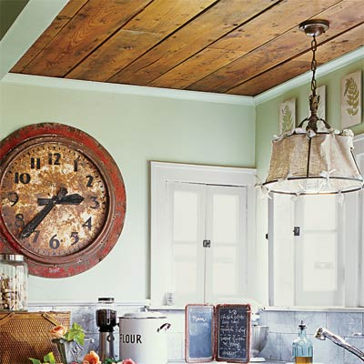 a wood-paneled ceiling in a kitchen
