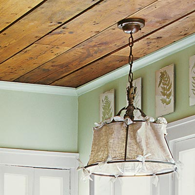 a vintage pendant light in a kitchen