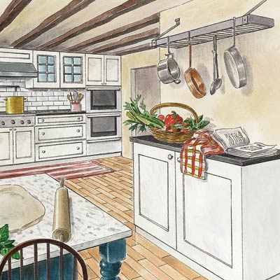 an illustration of a modernized farmhouse-style kitchen