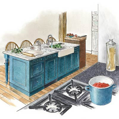 an illustration of a full kitchen island