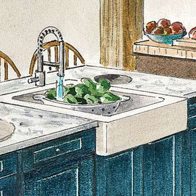 an illustration of a farmhouse sink