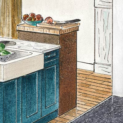 an illustration of a butcher block-topped cabinet for tucking away a microwave