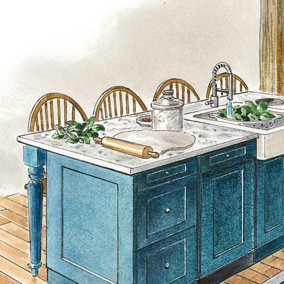 an illustration of seating at a kitchen island