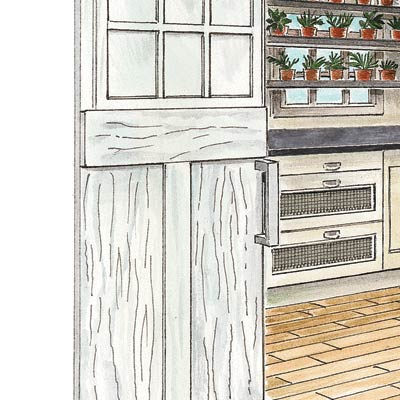 an illustration of a sliding wooden pantry door