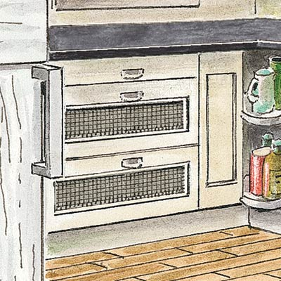 an illustration of ventilated drawers in a kitchen pantry