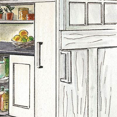 an illustration of a storage freezer in a kitchen pantry