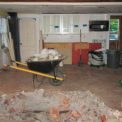 a kitchen in mid-renovation