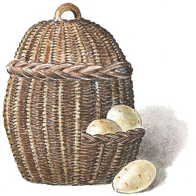 an illustration of a wicker potato basket