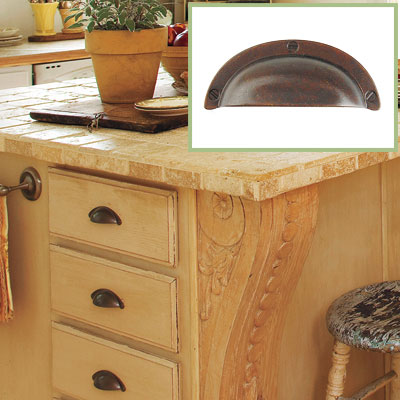 A cup pull drawer handle