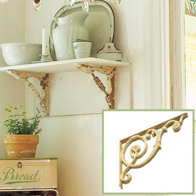 Cast iron support brackets in this salvage kitchen