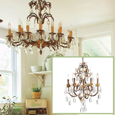 Crystal chandelier in this salvage kitchen