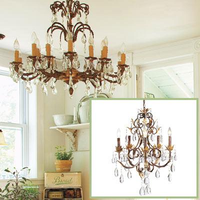 Crystal chandelier in this salvage kitchen