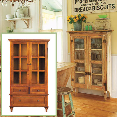 Glass-door cabinet in this salvage kitchen