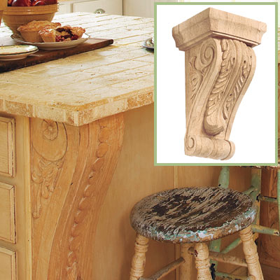 Decorative corbel along this salvage kitchen island
