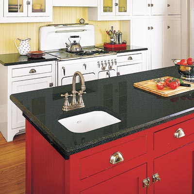 a Plain & Fancy kitchen island designed for prep and washing