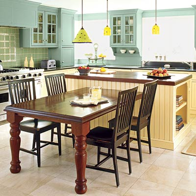 kitchen with a T-shaped kitchen island and green cabinets and tiles