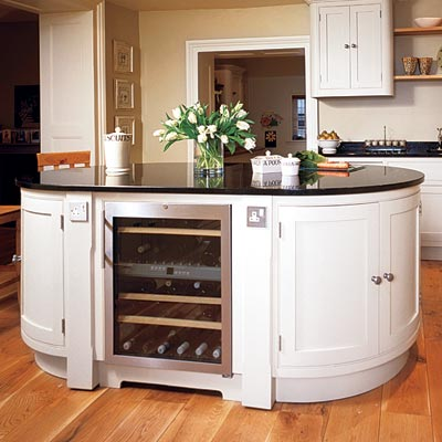 an oval-shaped kitchen island