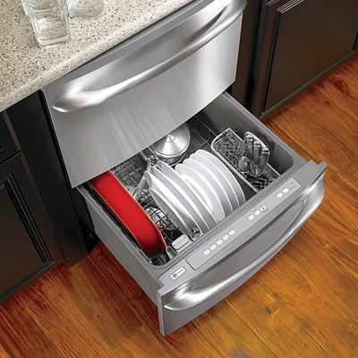 a kitchen island with a dishwasher