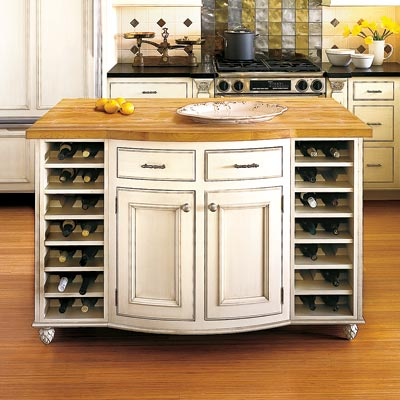 a kitchen island with built-in wine storage racks