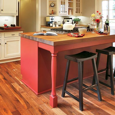 a kitchen island with sturdy legs for a dining area