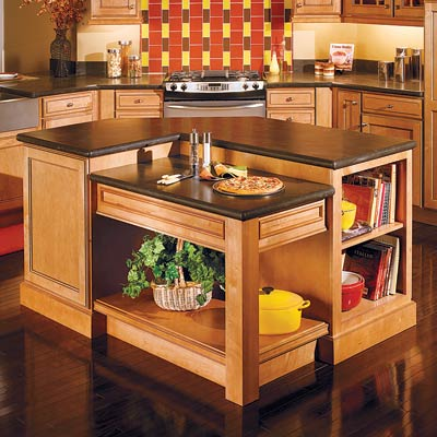 a kitchen island with a dropped-down station for baking