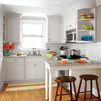 Limited room two cooks one small space kitchen this - Peninsula in small kitchen ...