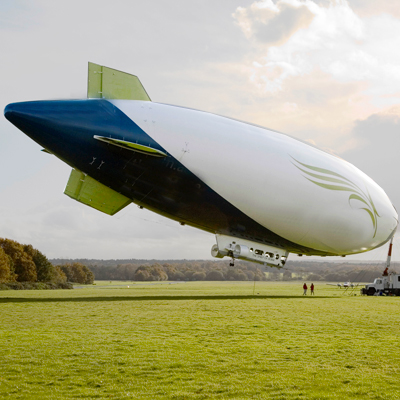Blimp makes backyard landing