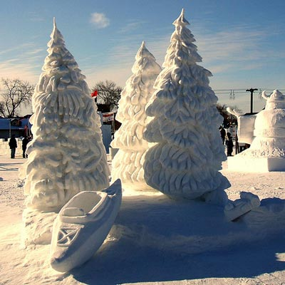 trees made of snow