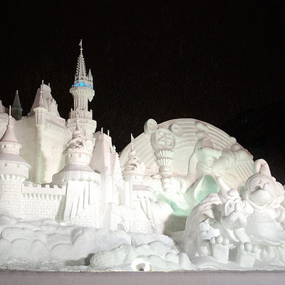 Disney snow sculpture in Japan