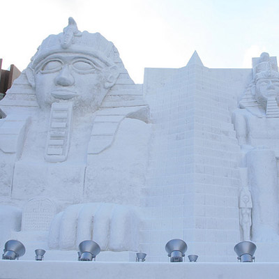 egyptian ruins in snow