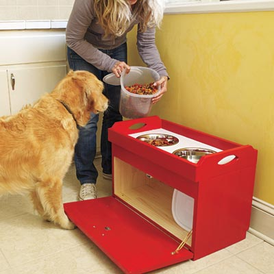 a dog feeding station you can build as a pet-friendly project